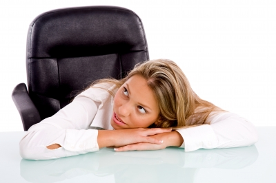 Business Woman resting on desk - Professional?